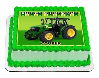 Tractor John Deere Edible Icing Image Cake Decoration Birthday Party Topper