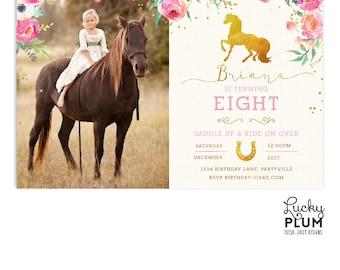 Horse Birthday Invitation / Pony Birthday Invitation / Cowgirl Birthday Invitation / First Birthday Invitation / Pink Gold Rustic Saddle Up