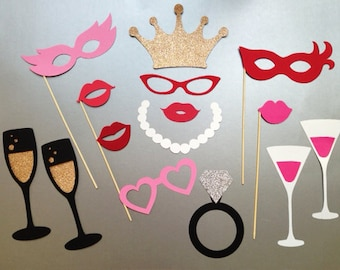 Bachelorette Party Photobooth Props Wedding Photo Booth Props Set of 15