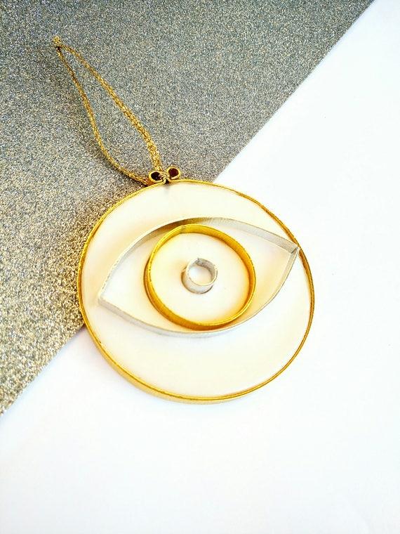 Modern Minimal Evil Eye Ornament Polymer Clay and Metal Wall