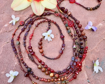 BOHO CHIC Czech Glass Red Beaded Necklace or Bracelet