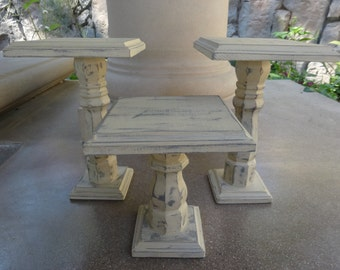 Rustic Wood Cake Stand/Shabby Chic/Pedestal