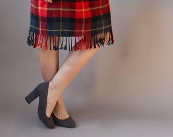 Vintage Plaid Fringe Midi Skirt