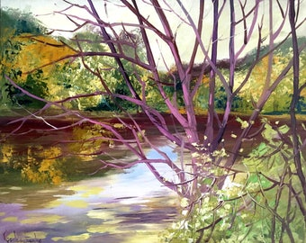Autumn landscape Painting Original Oil Painting On Canvas By Tetiana