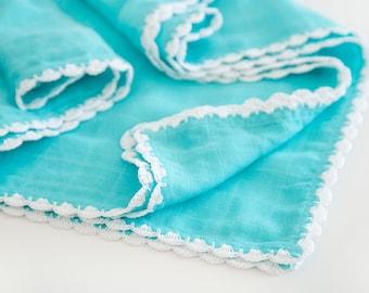 Blue Organic Cotton Swaddle Blanket