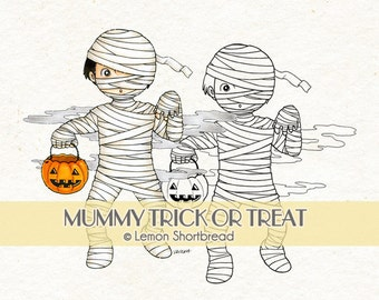 Digital Stamp Halloween Mummy Treat or Treat, Digi Download, Jack O' Lantern, Monsters, Boy, Horror, Graphic, Coloring Page, Clip Art
