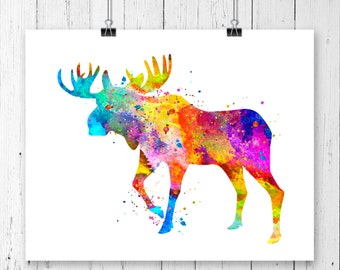 Moose #1  Watercolor Fine  Art Print, Poster, Wall Art, Home Decor, Kids Wall Art, Play Room Wall Art, Nursery Wall Art, Archival print