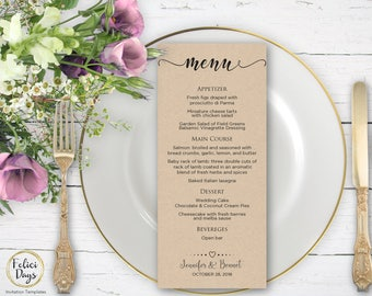 Rustic Wedding Menu Template, DIY Wedding Menu Template, Printable Wedding Menus, Editable Menu Template, PDF Instant Download MR312