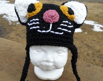 Black Cat Crochet Hat; Black Cat Hat; Black Cat; Crochet Winter Hat; Crochet Cat Hat; Infant Crochet Cat Hat; Cat Hat; Baby Cat Hat