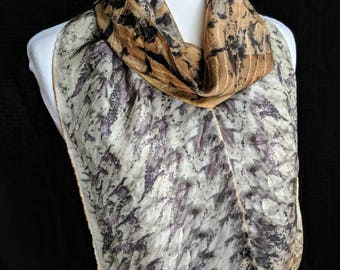 Sumac Leaf Eco-Print Silk Scarf. Hand Naturally Dyed Pink and Grey Habotai Scarf. Eco printed Scarf. Approx. 8x72 in. 2EH1
