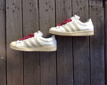 Original Vintage 1980's Adidas Superstar Made in France Shell top Original Run DMC Sneakers Kicks looks about size 8- 8.5
