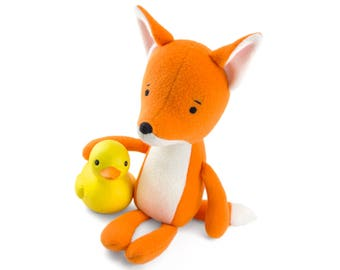 "Stuffed Fox animal. Plush fox. Orange fox. Soft toy fox ""Ville"". Softy small orange fox. Soft friend for hugging. Kids room decorative fox."