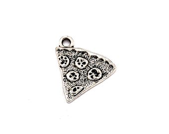 10pc Pizza Slice Charm Antique Silver Metal 22x19mm