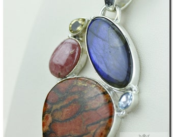 Orange Copper Turquoise Labradorite RHODOCROSITE 925 SOLID Sterling Silver Pendant + 4mm Snake Chain & FREE Worldwide Shipping p1358
