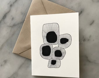 Abstract Organic Shapes Greeting Card - Bank Inside - Birthday, Thank you, etc.