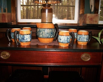 Vintage Pitcher with 6 Mugs - 7 piece set - Made in Japan - Marked 5PTS           #595