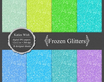 Frozen Inspired Glitter digital paper kit, small commercial use, instant download file for digital scrapbooking, invites, graphic design