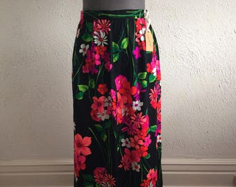 Floral 70's maxi skirt