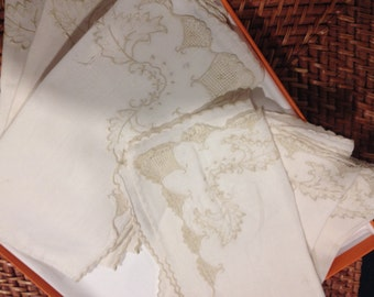 Six White Table Linen Napkins embroidered