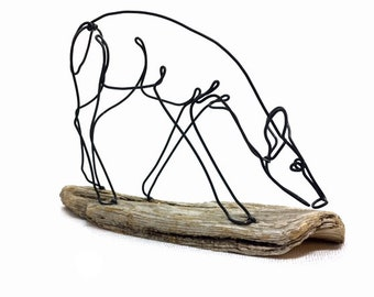 Grazing Doe Wire Sculpture, Doe Wildlife Sculpture, Minimal Wire Sculpture, Deer Art, 591052794
