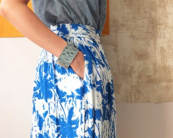 summer a-line skirt with palm tree print in georgette silk