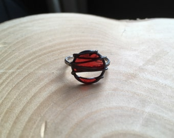 Red enamel and oxidised silver ring. Size K+
