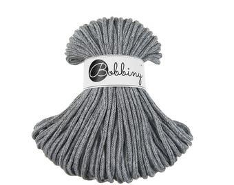 Gray melange macrame cotton cord - Bobbiny - 54 yards (50 meters), 0.2'' (5mm) thick