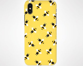 Bees Yellow Phone Case for iPhone and Samsung, iPhone X, 8, 7, 6, 6s, Plus, 5s, 5c, Samsung, S8