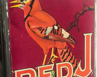 Antique Red J Chewing Tobacco Tin  Advertising- TL1