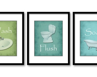 Bathroom Decor Bathroom Print Lime Green Turquoise Set Of 3 Bathroom Art  Prints Flush Wash Soak Wall Decor Modern Minimalist