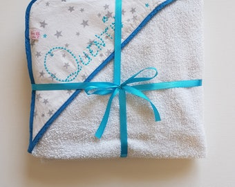 Bath towel for baby with the child's name