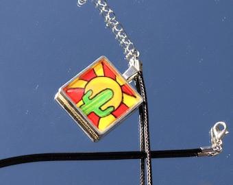 Handpainted Saguaro pendant