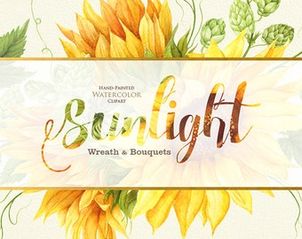 Sunflower Watercolor Wreath & Bouquets with Hop. Bohemian Boho Flowers. Hand Painted Wedding Clipart. Digital DIY invitations. Greeting card