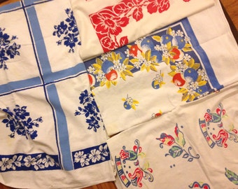 4 Cutter Tablecloth LOT Vintage 50s Tablecloth