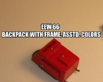 Dollhouse Miniature Backpack, Wood, with Frame, Assorted Colors #EEW66