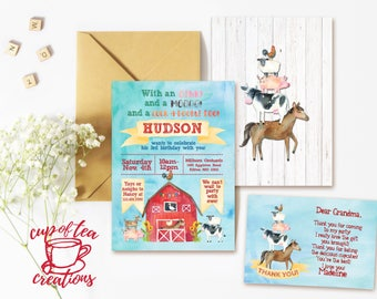 Farm Birthday Invitation, Barnyard Birthday Invitation, Farm Invitation, Watercolor Farm Invitation, Barnyard Invitation