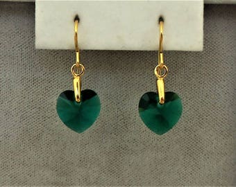 14ct Gold Filled 10mm Emerald Green Swarovski Crystal Heart Earrings.