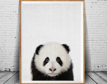 Baby Panda Nursery Wall Art Printable, Animal Nursery Print, Panda Bear Kids Art Print, Black White Nursery Decor, Kids Print, Baby Animal