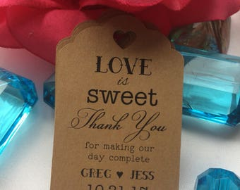 Love is Sweet Wedding Tags, wedding Thank You tags, wedding tag kisses cookie tags, Sweet, Love Custom Favor Tags Personalized Tags,