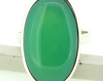 Green, Chalcedony Ring, 925 Sterling Silver, Chalcedony, Ring, Gemstone Jewelry #14451