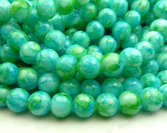 Deep Sky Blue and Green Round Glass Beads - 8mm Smooth Mottled Beads, Shiny Colorful Bohemian Beads - 25pcs - BL15
