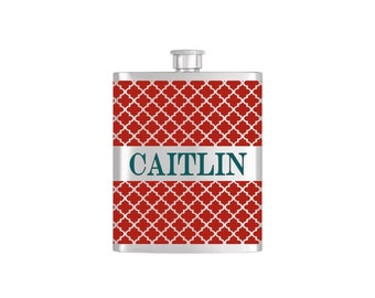 Personalized Red Moroccan Wallpaper Bridesmaid Gift - *** FREE FUNNEL INCLUDED *** Stainless Steel 7oz Liquor Hip Flask - Flask#46