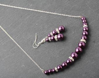 Plum pearl necklace, Plum wedding necklace, Plum pearl and rhinestone necklace, Plum Bridesmaid pearl necklace, Plum wedding jewelry, gift