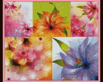 Multi Flower Cross Stitch Pattern - Color Chart - DMC Floss Chart - Nature and Blossoms Series - Just Print and Start Stitching!