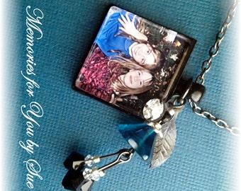 Keepsake - Memorial - Square Glass Tile Pendant Necklace - Personalized - Custom