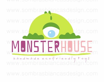 OOAK Premade Logo Design - Monster House Green Purple Pink - Perfect for a handmade toys or kids clothing brand