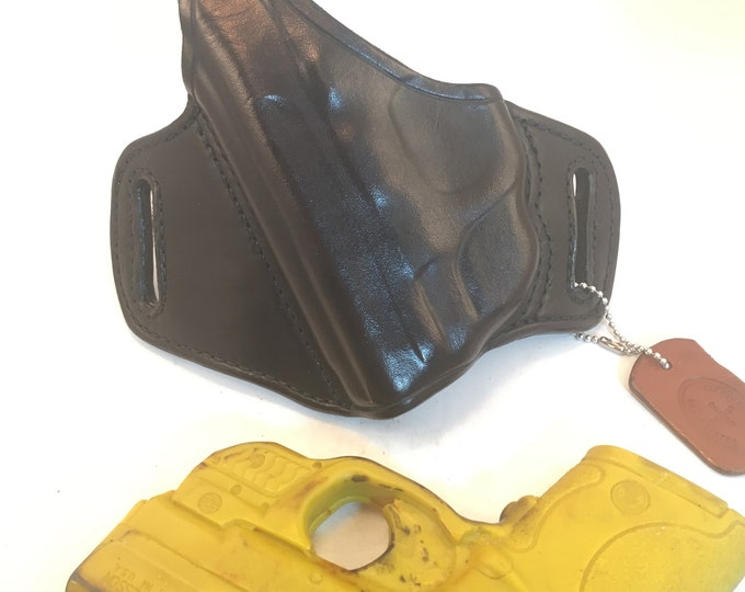 S & W MP Shield 40/9 w/ LG-489G Crimson Trace with retention strap * Ready to Ship *- Handcrafted Leather Pistol Holster
