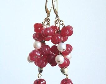 """Natural Rubby Pomegranate Earrings with Pearls, Length: 50mm (2"""")"""