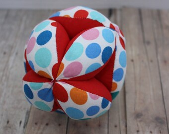 Handmade Red and Polka Dotted Puzzle Montessori Ball