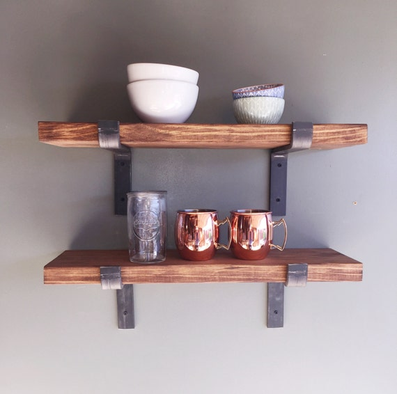 Open Kitchen Shelves With Brackets: 10 Depth Fixer Upper Style Industrial Floating Shelves